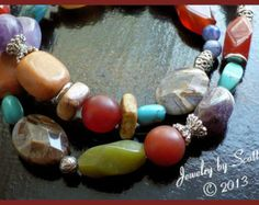 Chunky Gemstone Necklace // Agate Carnelian Amethyst Turquoise Sodalite // Toggle Clasp // SRAJD