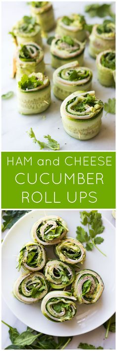 Ham and Cheese Cucumber Roll Ups - low carb and healthy roll ups with avocado-hummus, ham, cheese, cilantro, and spinach | littlebroken.com @littlebroken
