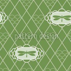 Dragonflies Verde designed by Katrin Kristjansdottir, vector download available on patterndesigns.com Vector Pattern, Pattern Design, Dragonflies, Surface Design, Asian, Patterns, Dragon Flies, Block Prints, Pattern