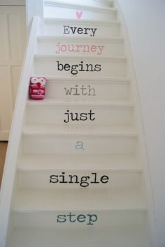 Emma's Home Ideas : (Take Me On) A Staircase to Heaven >>This is words on stairs done right! Stair Decor, Stairwell Decorating, Stair Steps, Painted Stairs, Basement Stairs, Attic Stairs, Stairways, My Dream Home, Sweet Home