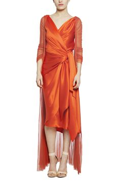 Glass, Washed satin wrap dress, V cleavage at back and front. Cortana Spring Summer 2014 collection.