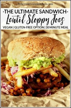 Making the Ultimate Vegan Sloppy Joe makes me want to sing like Adam Sandler! Loaded down with homemade slaw, avocado, and oven baked fries, this is one delicious ritual you don't want to miss! Vegan Dinner Recipes, Vegan Dinners, Vegan Recipes Easy, Vegetarian Recipes, Vegan Recepies, Veggie Recipes, Lunch Recipes, Dessert Recipes, Vegan Sloppy Joes