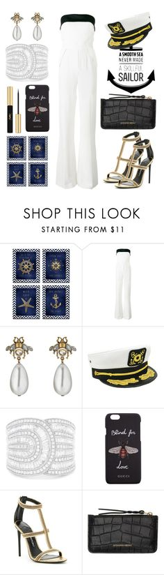 """Party Boat Rendezvous!"" by alana-rochelle-young-tezeno ❤ liked on Polyvore featuring Elie Saab, Gucci, Dorfman Pacific, Effy Jewelry, Tom Ford, Alexander McQueen and Yves Saint Laurent"
