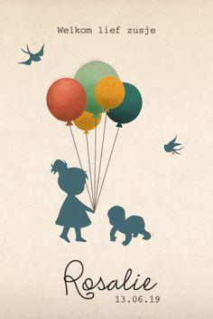 Wat een lief geboortekaartje met een silhouet van een klein meisje met een baby! Wat vind jij van vintage geboortekaartjes?