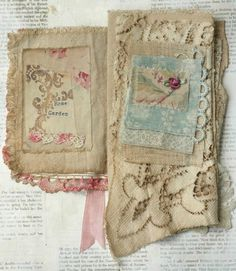 Mixed Media Fabric Collage Book of Summer Roses | eBay