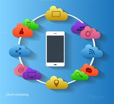 Cloud computing with smartphone icon @creativework247