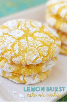 Lemon Burst Cake Mix Cookies are always a hit Enjoy the burst of lemon flavor from these light soft baked cookies Video recipe printable recipe at via tidymom Lemon Cake Mix Cookies, Soft Baked Cookies, Cake Mix Cookie Recipes, Lemon Cake Mixes, Dessert Recipes, Lemon Crinkle Cookies, Drop Cookies, Cake Box Cookies, Lemon Cookies Easy