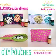 Super cute and functional bags to tote your essential oils in! Handmade bags, oily pouches, essential oil bags, oil bags, oil accessories, essential oil accessories, diy bags, diy pouch, young living essential oils, lushcreativehome, lush_creative, etsy shop