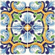 Great colors for tile in pool. Design reproduced from very old tile: Waterline Pool Tile, Kitchen Splashback Tiles, Mediterranean Tile, Folk Art Flowers, Pool Remodel, Backyard Pool Designs, Spanish Tile, Blue Pottery, Clay Tiles