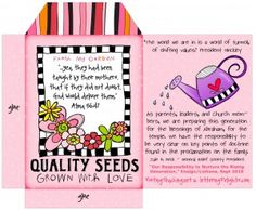 Seed Packet printable for visiting teaching (other great gift ideas and printables on site).