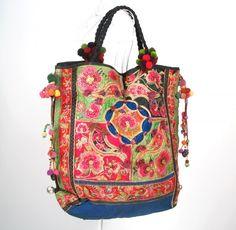 One of a Kind Large Hippie Boho  Vintage Textile Tribal Ethnic Bag