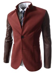 (NDJ18-RED) Slim Fit China Collar Leather Patched 2 Button Blazer