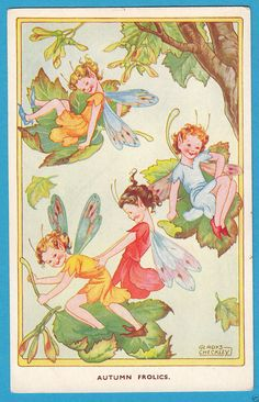 Gladys Checkley: Autumn Fairies - Floating on Leaves - PC c.1950s (P1864)