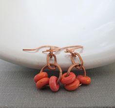 Copper Earrings Glass Earrings Salmon Orange Glass by fiveforty, $20.00