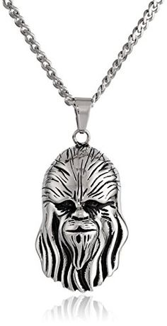 """Star Wars Jewelry Unisex 3D Chewbacca Stainless Steel Pendant Necklace, 24"""" Star Wars Jewelry http://smile.amazon.com"""