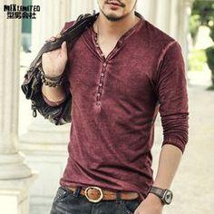 Marque Designer Hommes Coton Vintage Henry T Shirts Casual Manches Longues de Haute Qualité Cardigan T-shirt