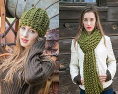 Green Wool Scarf and Hat Set ~ Chunky Scarf and Hat ~ Holiday Gift Set ~ 24 color options