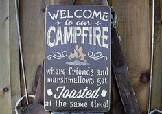 Welcome to our Campfire Wooden Sign by RusticNorthern on Etsy, $40.00