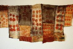 Ecoprinted with Eucalyptus and iron, felted and stichted made by marijke Eken