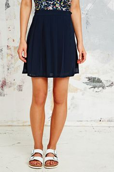 Cooperative Chiffon Wrap Pleat Skirt in Navy