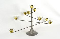 Mid Century Modern Adjustable Candelabra of Brushed Steel and Brass by OffCenterModern on Etsy