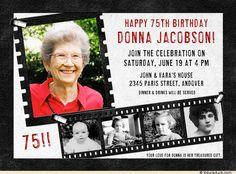 75th birthday party invitation ideas | Hollywood Photos Birthday Invitation - Film Strip 75th Lifetime Red
