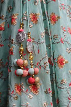 Turquoise Embroidered Lehenga with Banarsi Dupatta Saree Tassels Designs, Saree Kuchu Designs, Saree Blouse Neck Designs, Kurti Designs Party Wear, Designs For Dresses, Fabric Jewelry, Hand Embroidery Designs, Crafts, Model