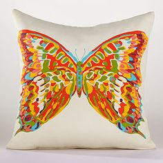 Butterfly Throw Pillow | World Market- This would be perfect for my new bright living room- World Market , here I come !