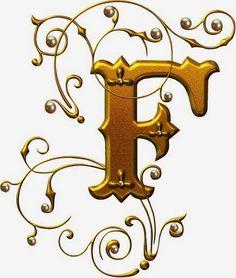 Alfabetos Lindos: letras de oro con perlas - alfabeto de oro con hermosas perlas