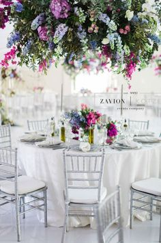 Greek themed wedding with beautiful pastel colours, colors, hanging arrangements, delphiniums, orchids, hydrangeas, roses, bougainvillea, suspended florals, Zavion Kotze Delphiniums, Hydrangeas, Greek Wedding, Our Wedding, Pastel Colours, Colors, Event Company, Bougainvillea, Tablescapes