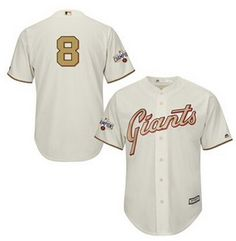 Men's San Francisco Giants #28 Buster Posey 2015 Cream World Series Gold Program Jersey