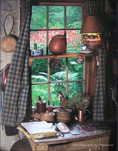 Tasha Tudor home sweet home--I don't think Tasha Tudor had clutter issues.. And look at the beauty outside those windows.