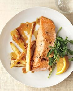 Ginger gives a zing to roasted salmon's delicate flavor. Serve this dish with a…