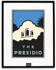Poster/Print - Schwab The Presidio    The Parks Conservancy celebrates the Presidio with this handsome graphic available in an outstanding silk-screened poster on premium stark white paper or as an intimate matted print. Both are available framed in classic black wood. Artist, Michael Schwab.