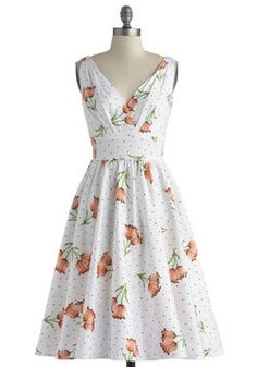 This dress left me speechless...I have the PERFECT black t-strap heels and floral headband for this! Begging for a few weeks of Indian summer... Ace of Teacakes Dress, #ModCloth