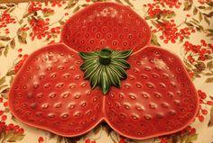strawberry 3 part serving dish dish