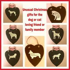 Slate hearts with hand stamped cat or dog shape attached. Several dog breeds in stock. Please ask. #slatehearts #christmasgifts #slatewallhanging #dogs #cats #handstamped