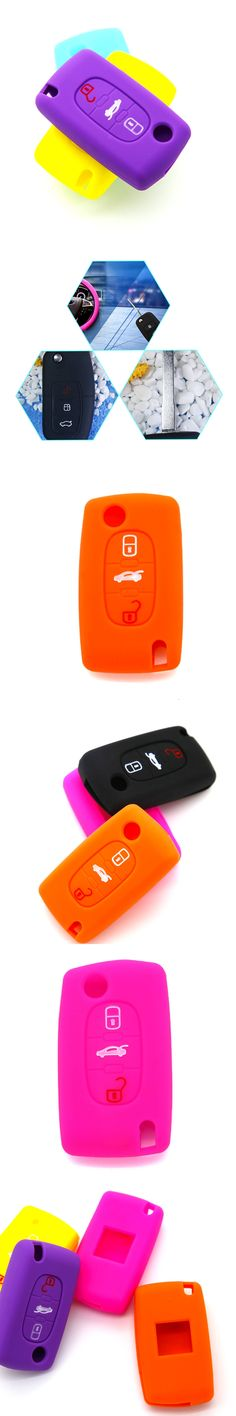 Dewtreetali Car Silicone Remote Key Fob Cover For Peugeot 407 307 107 207 607 3008 308 RCZ 508 408 3Buttons Car Styling Key Case