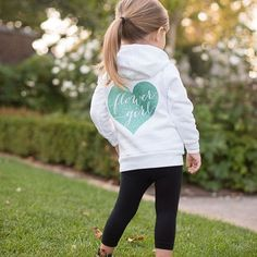 Your flower girl will be so excited to wear this adorable sweatshirt! Super soft, zip up white fleece hoodie, printed with a sparkling glitter flower girl heart on the back. Also available for your Jr