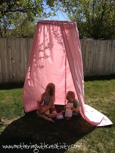 DIY tutorial childrenu0027s play tent using a hoola hoop from the Dollar Store old curtains and a hanger! & Kids play tent. this comes from a lengthy tutorial but could use ...
