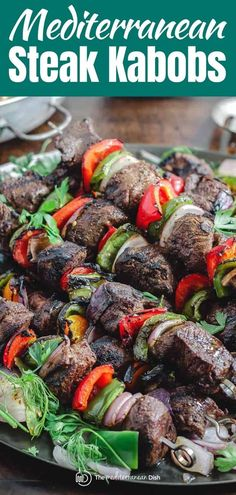 This recipe and tutorial is all you need to make the best beef shish kabobs or steak kabos! And you'll love the tasty Mediterranean marinade. #kabobs #kebab #beefkebab #shishkabob #shishkebab #grilling #beef #grilledsteak