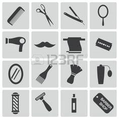 Conjunto de iconos de peluquería y barbería en negro. Foto de archivo.