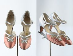 1930s shoes/ 30s F. Pinet heels/ satin
