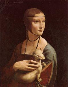 LEONARDO DA VINCI (1452 - 1519) | Portrait of Cecilia Gallerani / Lady with an Ermine.       Czartoryski Museum, Kraków,       Poland.