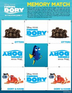 Free printable game in celebration of Finding Dory! Finding Dory memory game you can print from your home computer! Dory, Nemo, and more! Disney Crafts, Disney Fun, Disney Pixar, Disney Printables, Free Printables, Early Childhood Activities, Rainbow Fish, Finding Dory, Memory Games
