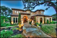 Mediterranean Tuscan Style Home/House Nice exterior stone walls and arched windows Luxury Mediterranean Homes, Mediterranean Architecture, Mediterranean Decor, Mediterranean Recipes, Spanish House, Spanish Style, Design Toscano, Style Toscan, Tuscan Style Homes