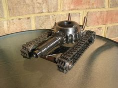 Hot Rod Tank Recycled Metal Sculpture and Pen Holder