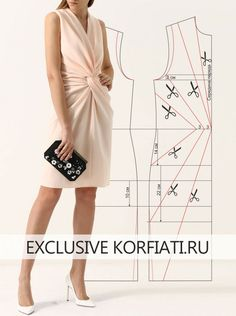 Dress pattern with drapery at the waist from Anastasia Korfiati - - Dress Sewing Patterns, Blouse Patterns, Clothing Patterns, Fabric Sewing, Skirt Patterns, Sewing Clothes, Diy Clothes, Karneval Diy, Mode Bcbg