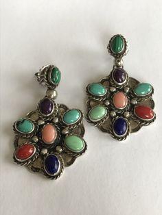 Navajo Multistone Sterling Earrings Turquoise by BargainBitz