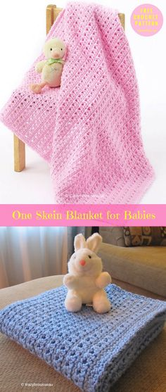 """#OneSkein Blanket for Babies #FreeCrochetPattern #CrochetBabyBlanket 